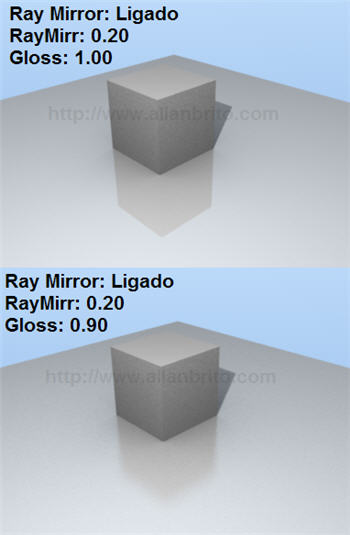 Blender 2.45 - SVN 03 - reflexão borrada - raytracing