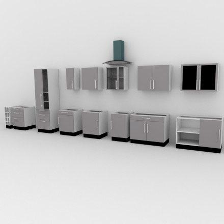 armários para cozinha em 3d