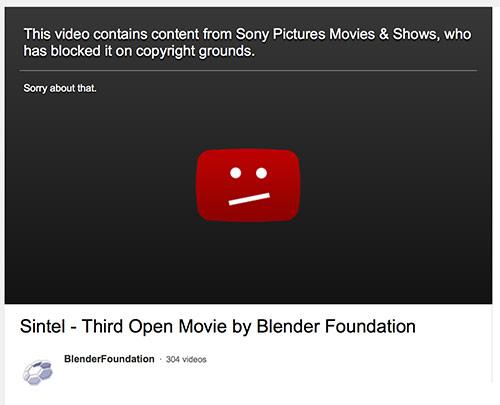 Sony bloqueia Sintel no Youtube por violação de copyright