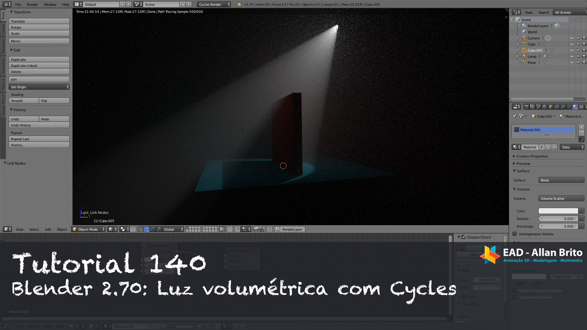 Tutorial 140 – Blender 2.70: Luz volumétrica no Cycles