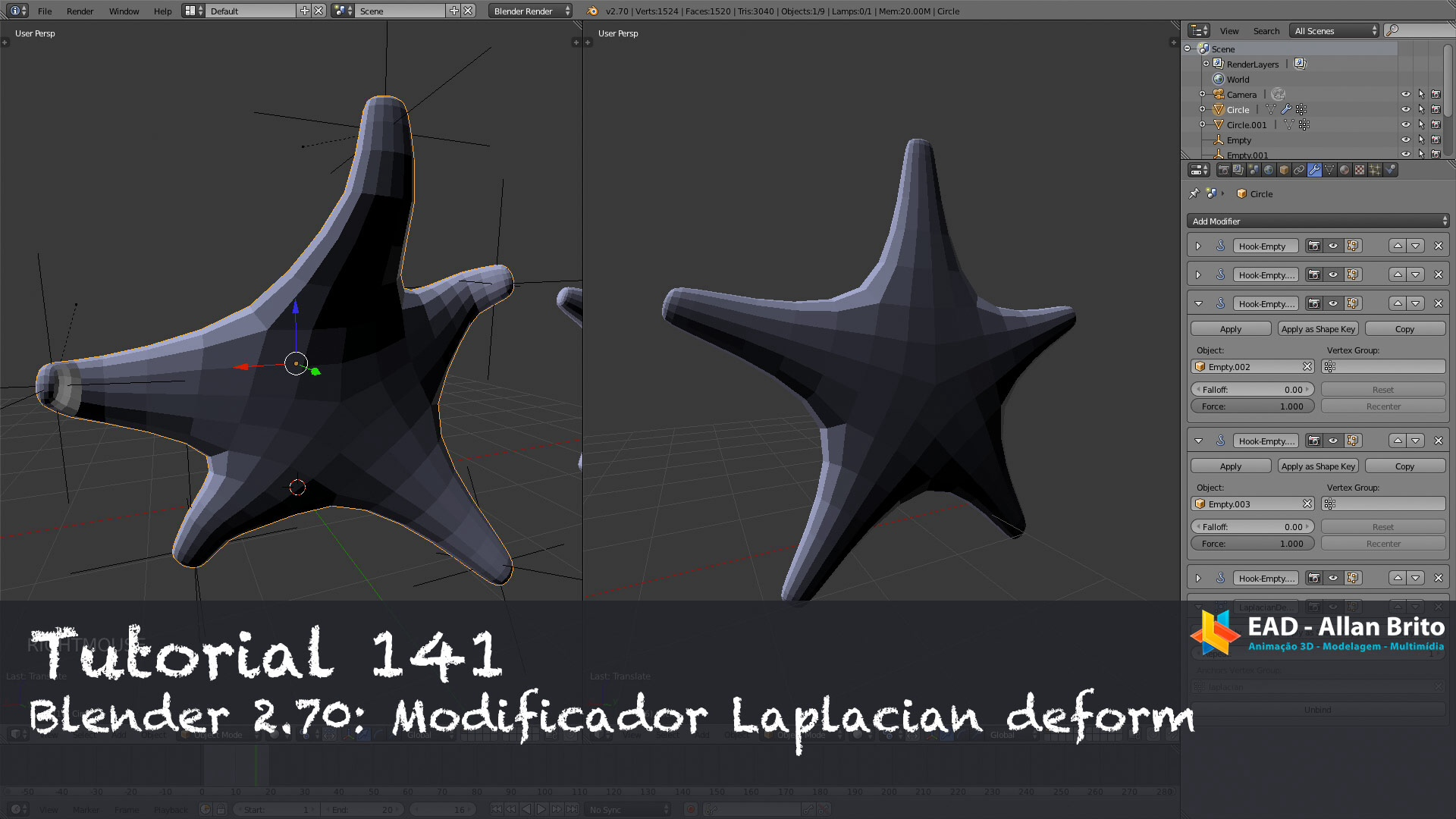 Tutorial 141: Blender 2.70 – Modificador laplacian deform