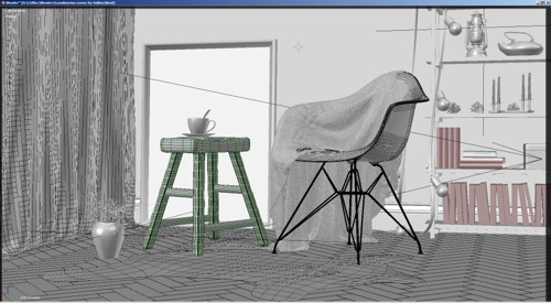 Blender-arquitetura-cycles-wire