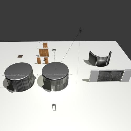 Blocos com portas para jogos e arquitetura