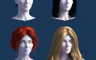 coleção gratuita de cabelos criados no Blender