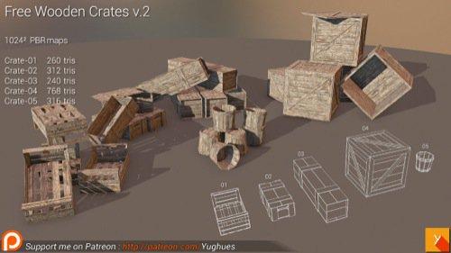 Blocos de madeira low poly para jogos