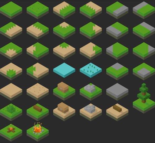 Tileset isométrico gratuito para jogos digitais
