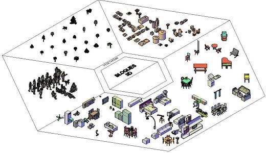 50 blocos 3D diversos para residências
