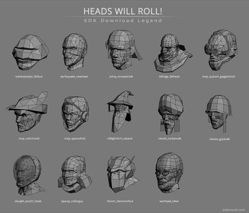 Download gratuito de cabeças 3D em Lowpoly