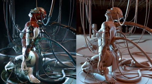 Ghost in the Shell recriado no Blender