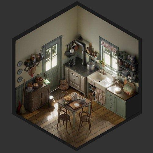 Cozinha isométrica no Blender Cycles