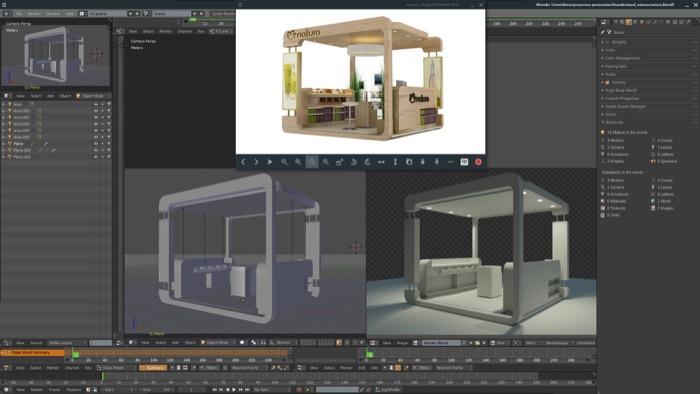 Design de stands para feiras com Blender