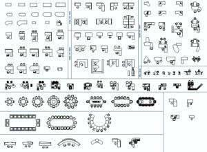 118 blocos gratuitos para AutoCAD: Escritórios