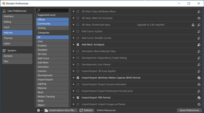 Blender 2.8 atualizando Add-ons