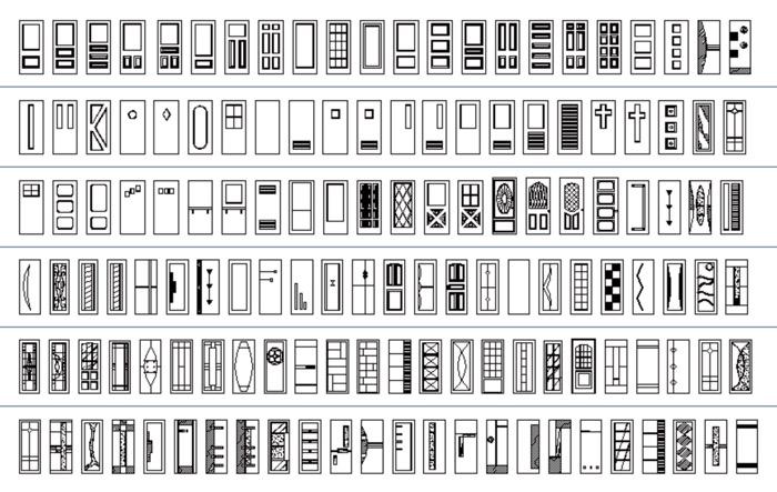 135 blocos para AutoCAD com portas em elevação
