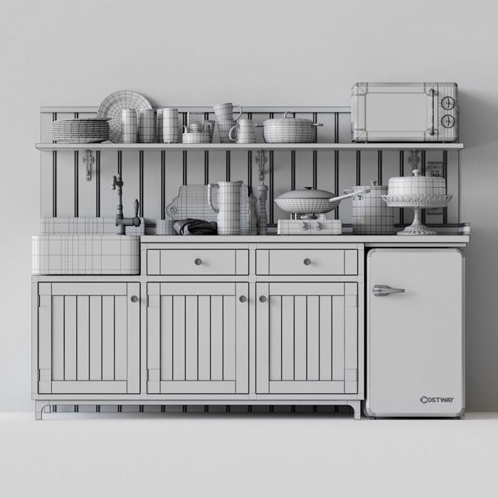 Cozinha 3D gratuita com móveis estilo vintage
